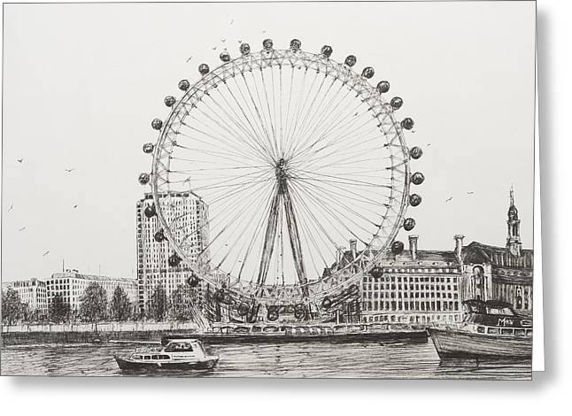 Ink Drawing Greeting Cards - The London Eye Greeting Card by Vincent Alexander Booth