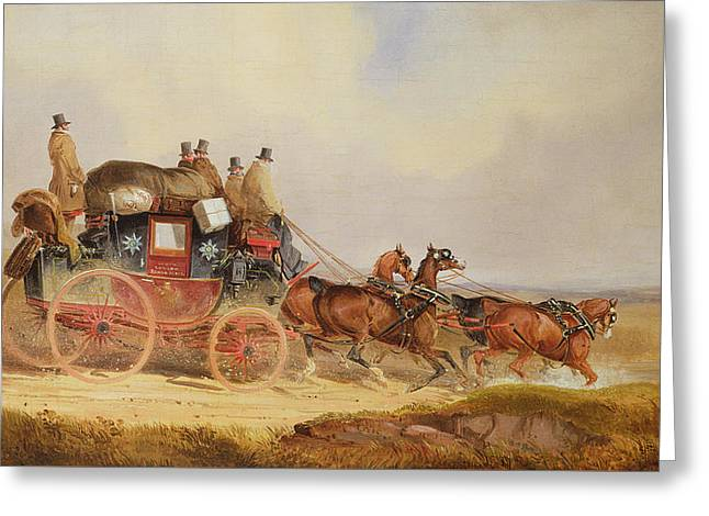 Express Paintings Greeting Cards - The London to Louth Royal Mail Greeting Card by Charles Cooper Henderson