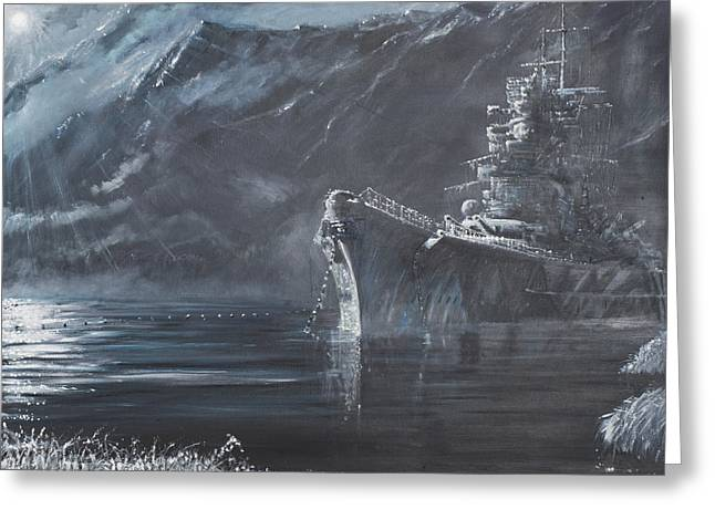 Battle Ship Greeting Cards - The Lone Queen Of The North Greeting Card by Vincent Alexander Booth