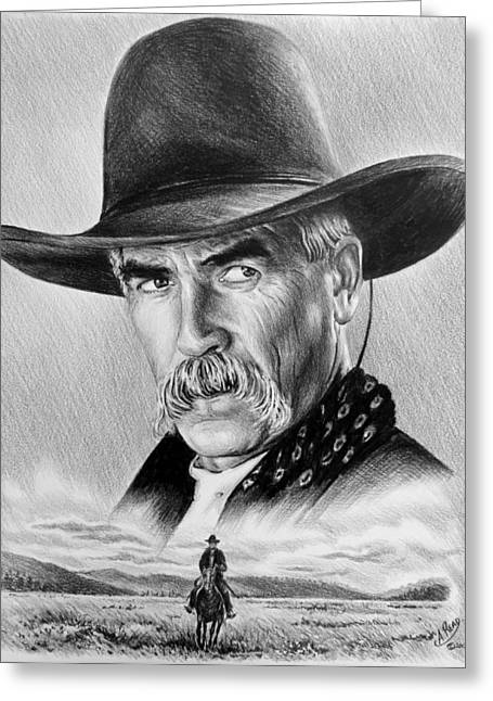 Cowboy Pencil Drawing Greeting Cards - The Lone Rider Greeting Card by Andrew Read