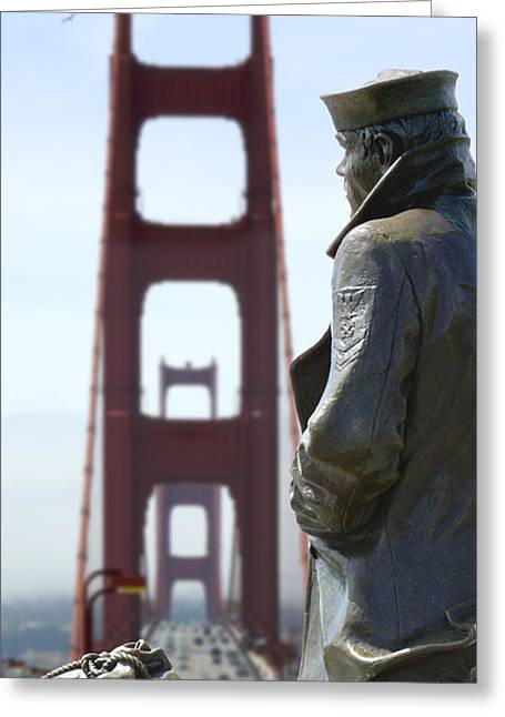 San Francisco Golden Gate Bridge Greeting Cards - The Lone Sailor Greeting Card by Mike McGlothlen