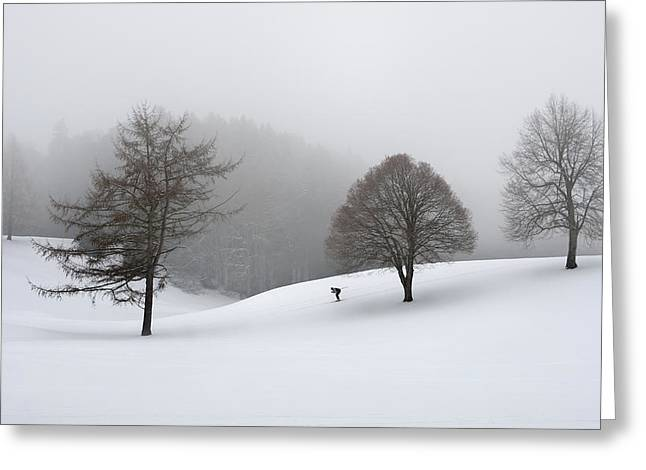 Skiers Greeting Cards - The Loneliness Of A Cross-country Skier Greeting Card by Marei