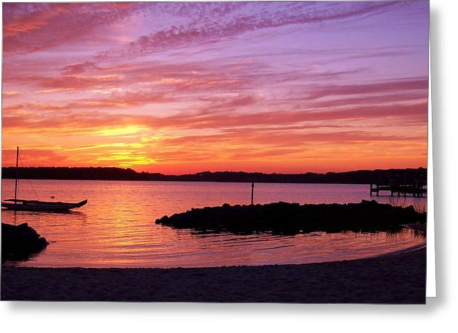 Bay Greeting Cards - The Lonely Boat Greeting Card by Trish Tritz