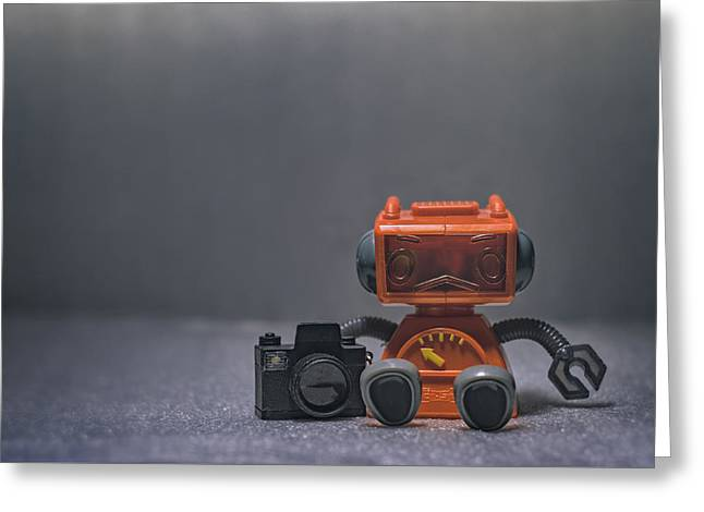 The Lonely Robot Photographer Greeting Card by Scott Norris