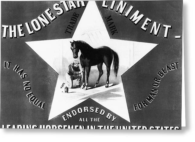 Liniment Greeting Cards - The Lonestar Liniment Greeting Card by Digital Reproductions