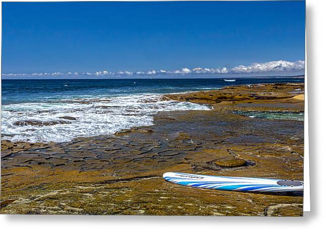 La Jolla Surfers Greeting Cards - The Long Board Greeting Card by Peter Tellone