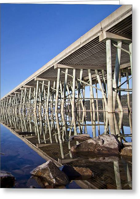 Lake Pend Oreille Greeting Cards - The Long Bridge Greeting Card by Albert Seger