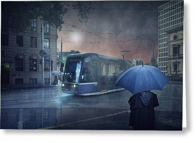 Raining Greeting Cards - The Long Goodbye 5 Greeting Card by Adrian Donoghue