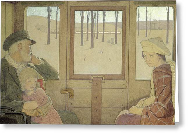 Train Car Greeting Cards - The Long Journey Greeting Card by Frederick Cayley Robinson