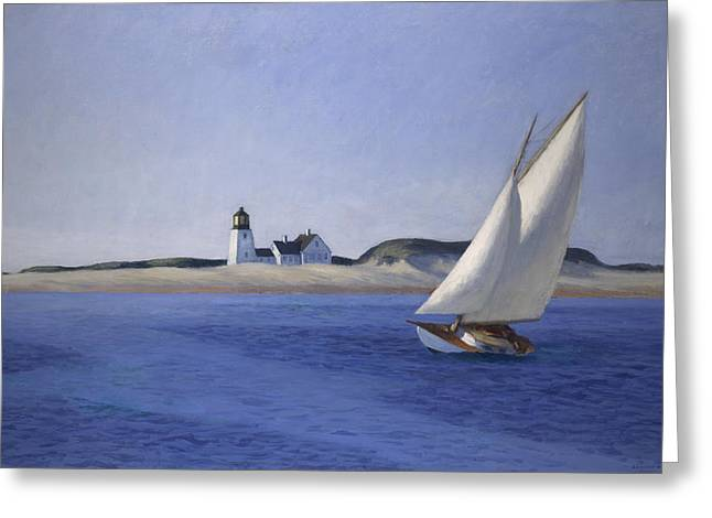 Blue Sailboats Greeting Cards - The Long Leg Greeting Card by Edward Hopper