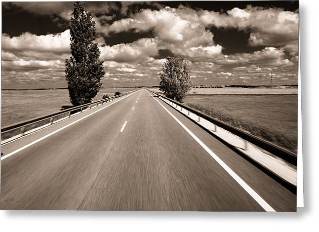 Roadway Greeting Cards - The long road. Greeting Card by Antonio Costa