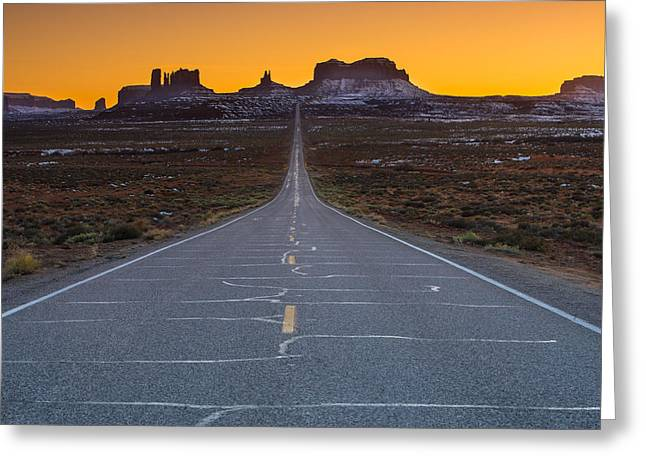 Pocket Greeting Cards - The Long Road to Monument Valley Greeting Card by Larry Marshall