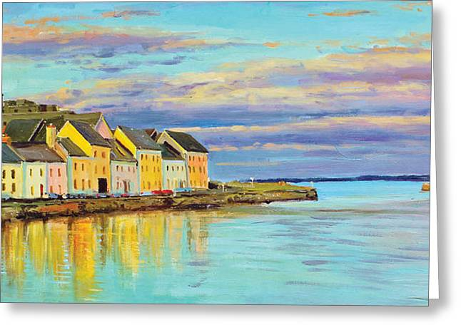 Sea Scape Greeting Cards - The Long Walk Galway Greeting Card by Conor McGuire