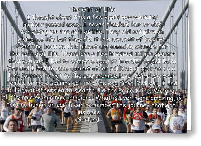 Runner Mixed Media Greeting Cards - The Longest Journey  Greeting Card by Garland Johnson