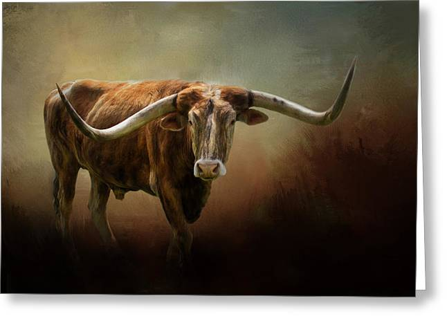 Recently Sold -  - Steer Greeting Cards - The Longhorn Greeting Card by David and Carol Kelly