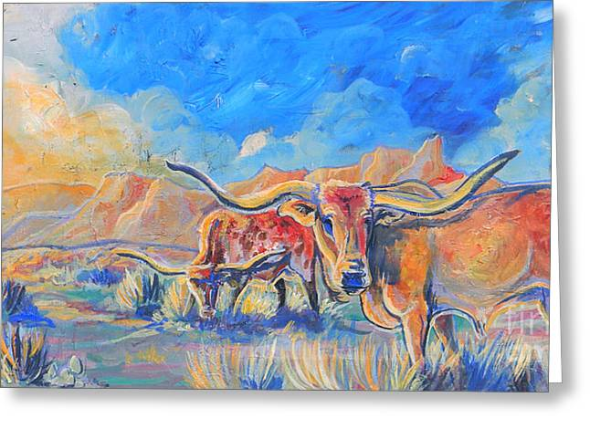 Jenn Cunningham Greeting Cards - The Longhorns Greeting Card by Jenn Cunningham