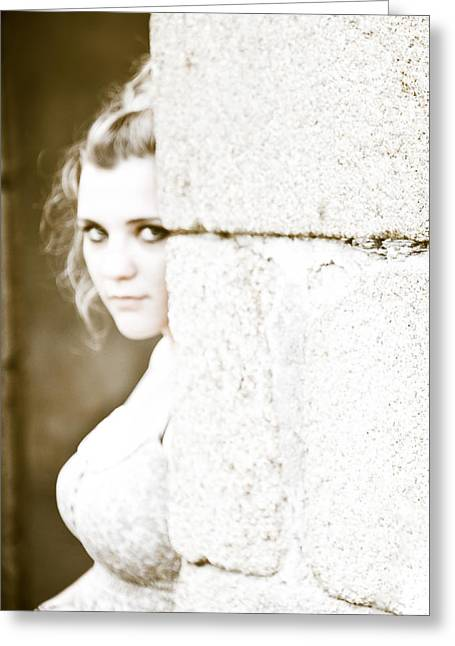 Teenage Photographs Greeting Cards - The Look Behind the Pillar Greeting Card by Loriental Photography