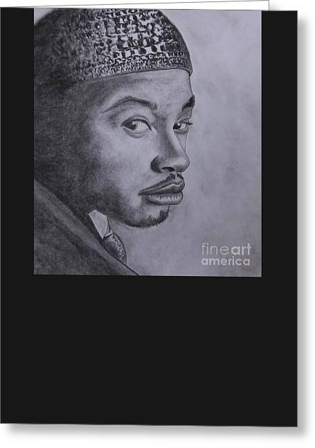 African American Man Drawings Greeting Cards - The Look Greeting Card by Lise PICHE