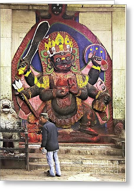 The Lord Of Time - Kala Bhairava Greeting Card by Gabriele Pomykaj