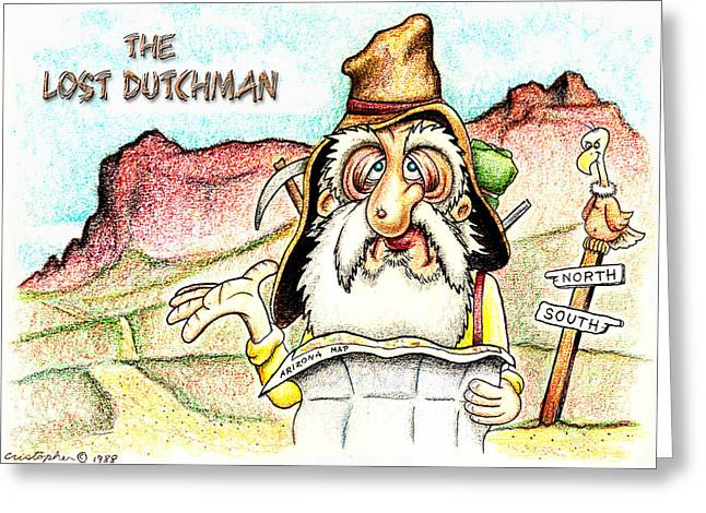 Arizona Drawings Greeting Cards - The Lost Dutchman Greeting Card by Cristophers Dream Artistry