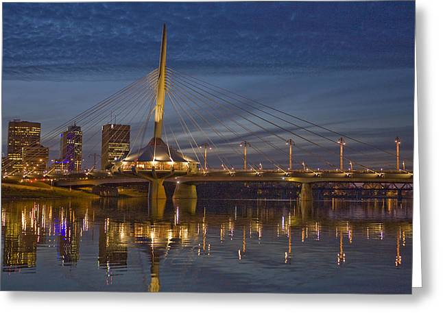 Efficiency Greeting Cards - The Louis Riel Bridge At Night Greeting Card by Taylor S. Kennedy