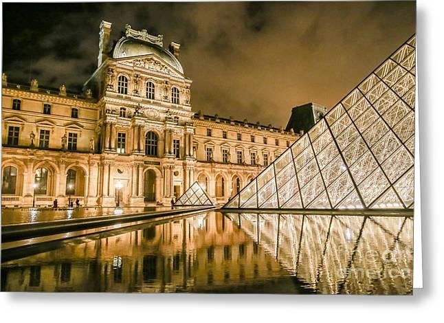 Pyramids Greeting Cards - The Louvre Museum Greeting Card by Linda Arnado