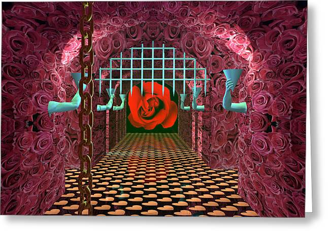Dungeons Greeting Cards - The Love Dungeon Greeting Card by Walter Oliver Neal