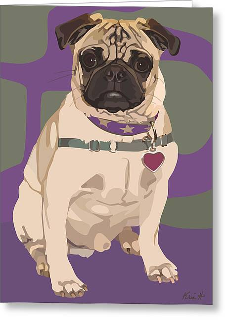 Dogs. Pugs Greeting Cards - The Love Pug Greeting Card by Kris Hackleman