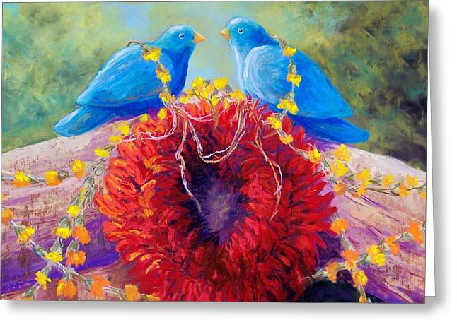 Santa Fe Pastels Greeting Cards - The Lovebirds Greeting Card by Candy Mayer