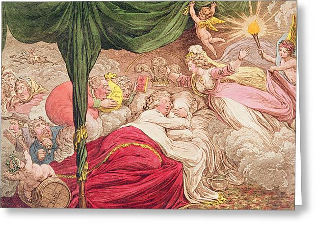 Curtains Drawings Greeting Cards - The Lovers Dream Greeting Card by James Gillray