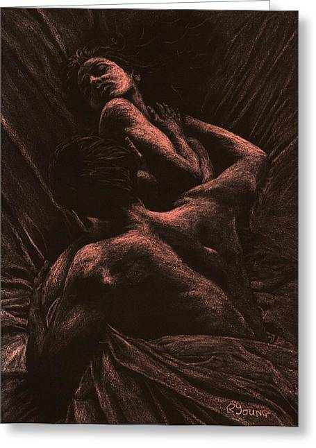 Figures Pastels Greeting Cards - The Lovers Greeting Card by Richard Young