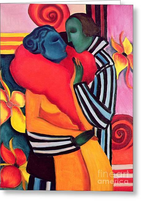 Couple Embracing Greeting Cards - The Lovers Greeting Card by Sabina Nedelcheva Williams