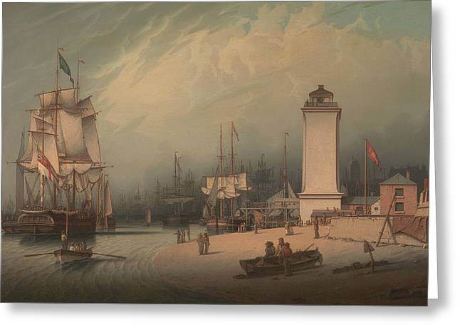 The Low Lighthouse North Shields Greeting Card by Robert Salmon