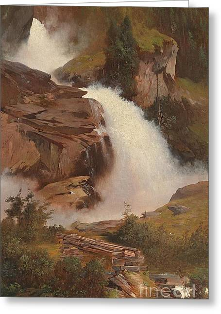 1833 Greeting Cards - The Lower and Middle Krimmler Falls Greeting Card by Celestial Images