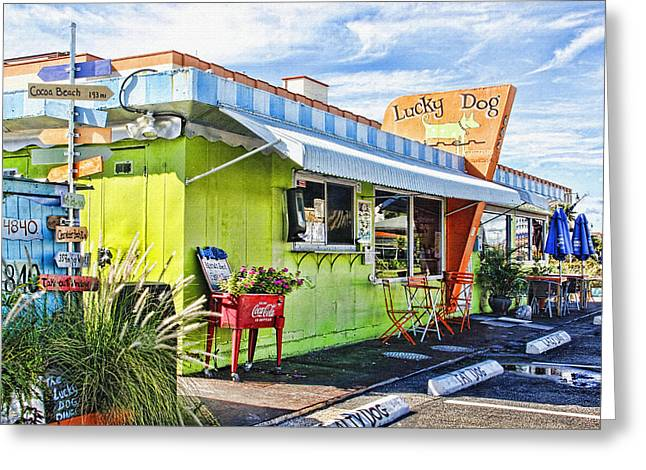 Lucky Dogs Greeting Cards - The Lucky Dog Diner Greeting Card by HH Photography of Florida