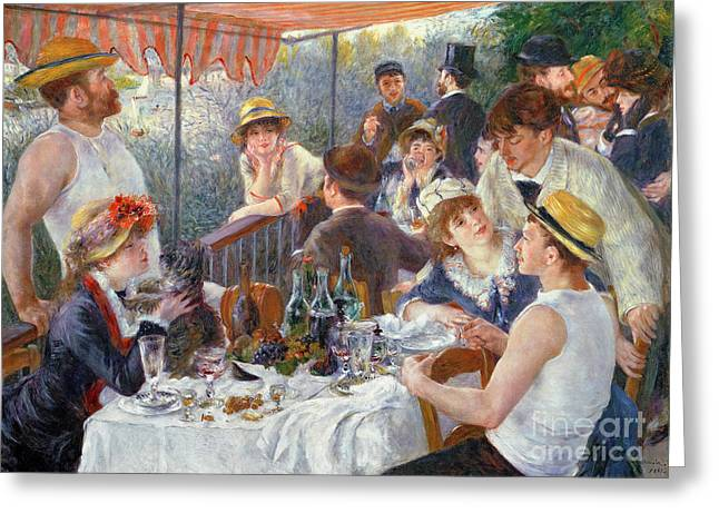 Outdoor Paintings Greeting Cards - The Luncheon of the Boating Party Greeting Card by Pierre Auguste Renoir