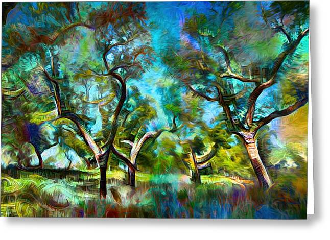 Mystic Art Greeting Cards - The Lusitanian Forest  Greeting Card by Daniel  Arrhakis