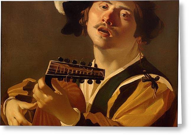 Playing Musical Instruments Greeting Cards - The Lute Player Greeting Card by Dirk Van Baburen