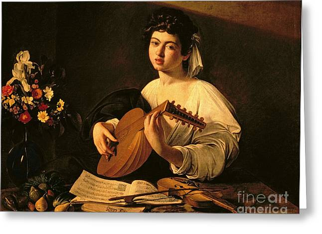 Strumming Greeting Cards - The Lute Player Greeting Card by Michelangelo Merisi da Caravaggio