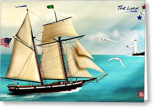 Tall Ships Greeting Cards - The Lynx tall ship Greeting Card by John Wills
