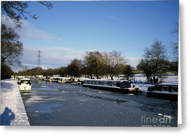 Snow Scene Landscape Greeting Cards - The Macclesfield Canal at Poynton in winter and frozen  Cheshire England Greeting Card by Michael Walters
