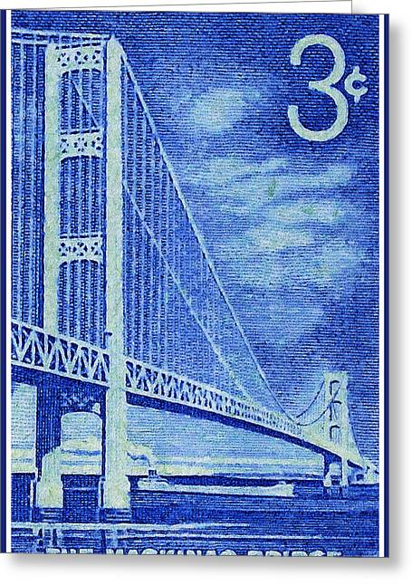 Recently Sold -  - Famous Bridge Greeting Cards - The Mackinac Bridge stamp Greeting Card by Lanjee Chee