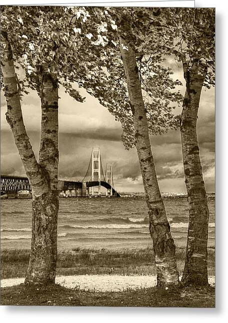 Brown Toned Art Greeting Cards - The Mackinaw Bridge in Sepia Greeting Card by Randall Nyhof
