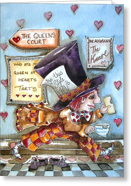 Mad Hatter Paintings Greeting Cards - The Mad Hatter - in court Greeting Card by Lucia Stewart