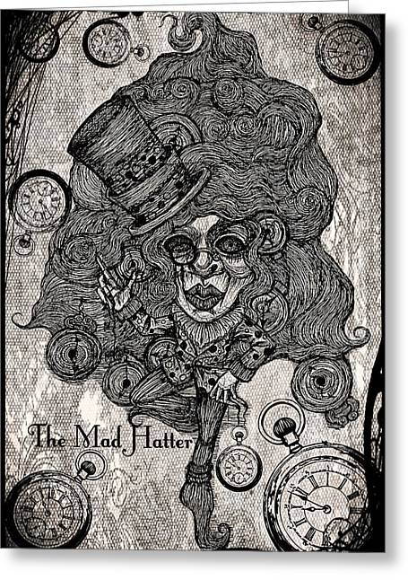 The Mad Hatter Greeting Card by Akiko Okabe