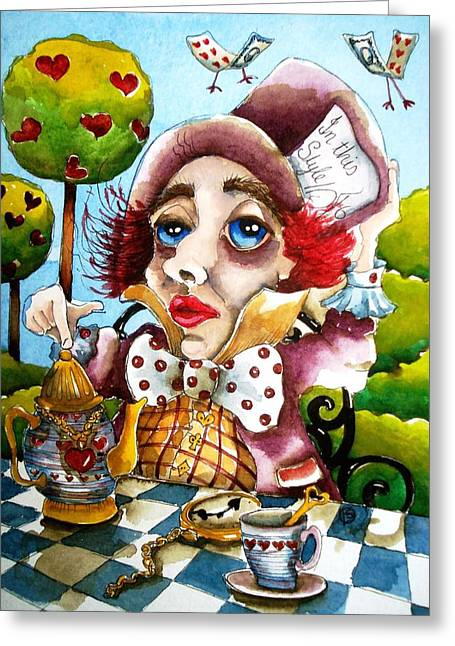 Hatter Greeting Cards - The Mad Hatter Greeting Card by Lucia Stewart