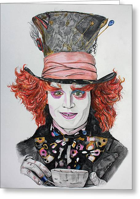 The Mad Hatter Greeting Card by Wendy Rodgers