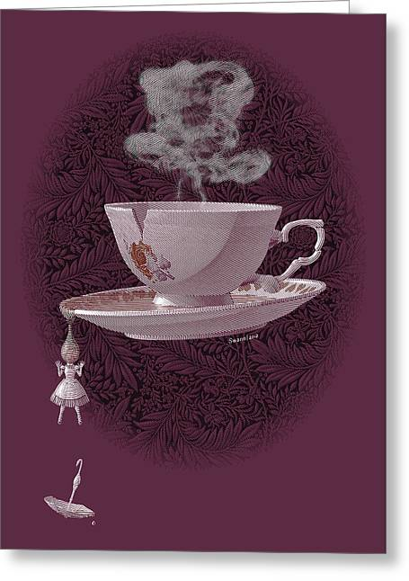 The Mad Teacup - Rose Greeting Card by Swann Smith