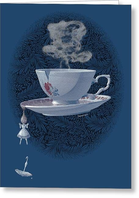 Black Top Greeting Cards - The Mad Teacup - Royal Greeting Card by Swann Smith