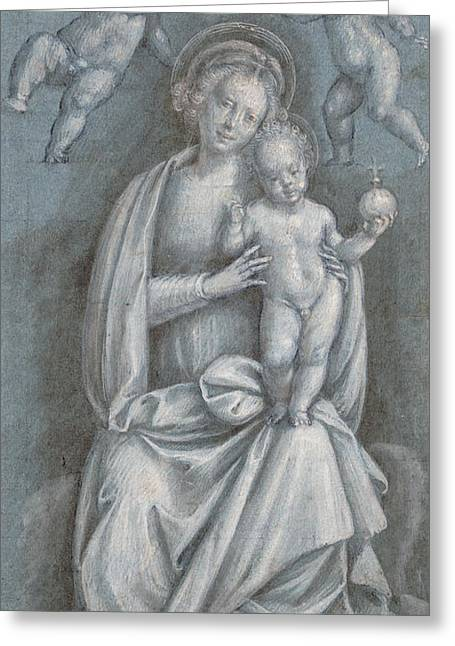Christian Pastels Greeting Cards - The Madonna and Child Crowned by two Angels Greeting Card by Bernardino Lanino